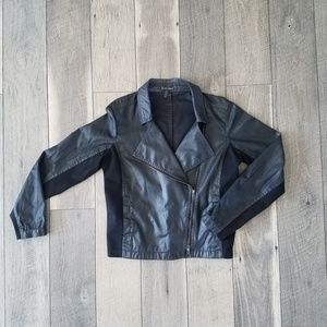Eileen Fisher Waxed Faux Leather Moto Jacket